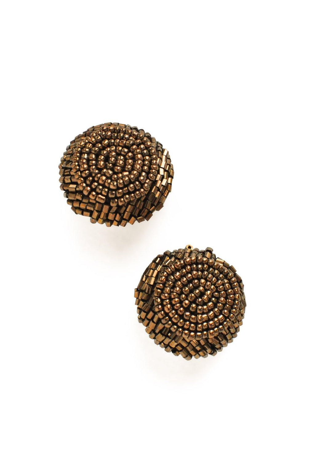 Brown Beaded Clip-on Earrings