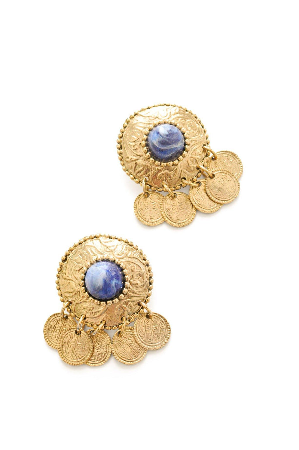 Blue Stone Pierced Earrings