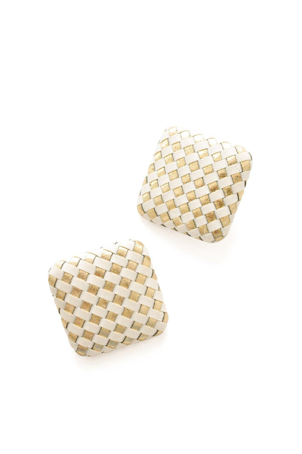White & Gold Woven Pierced Earrings