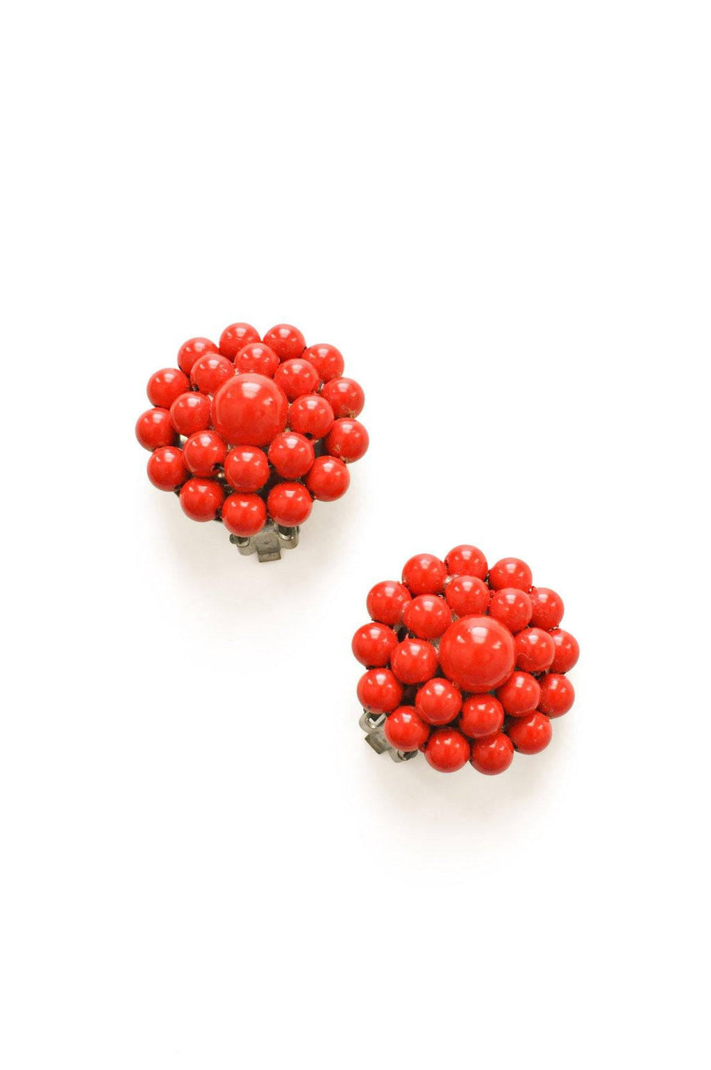 Red Beaded Clip-on Earrings