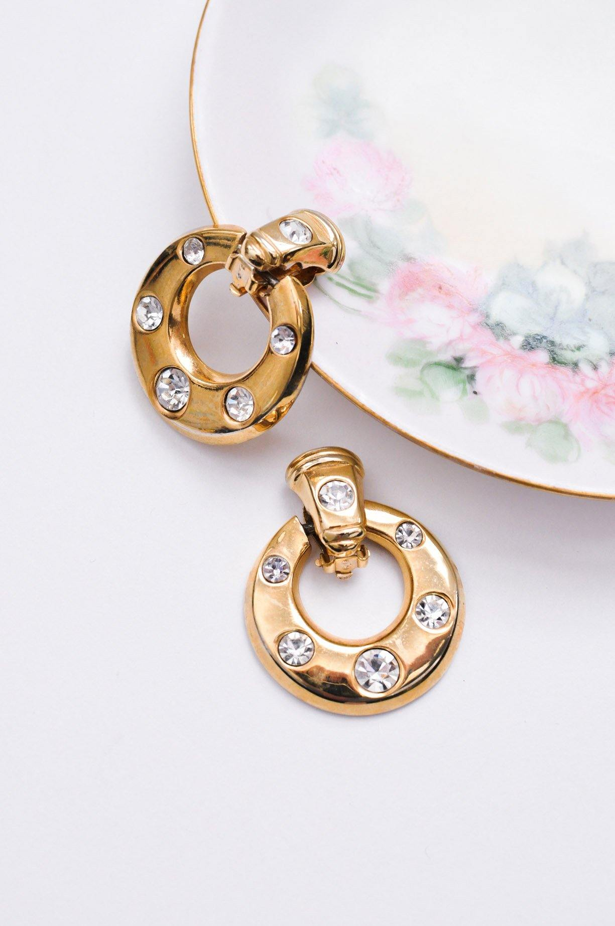 Bold Rhinestone Hoop Clip-on Earrings
