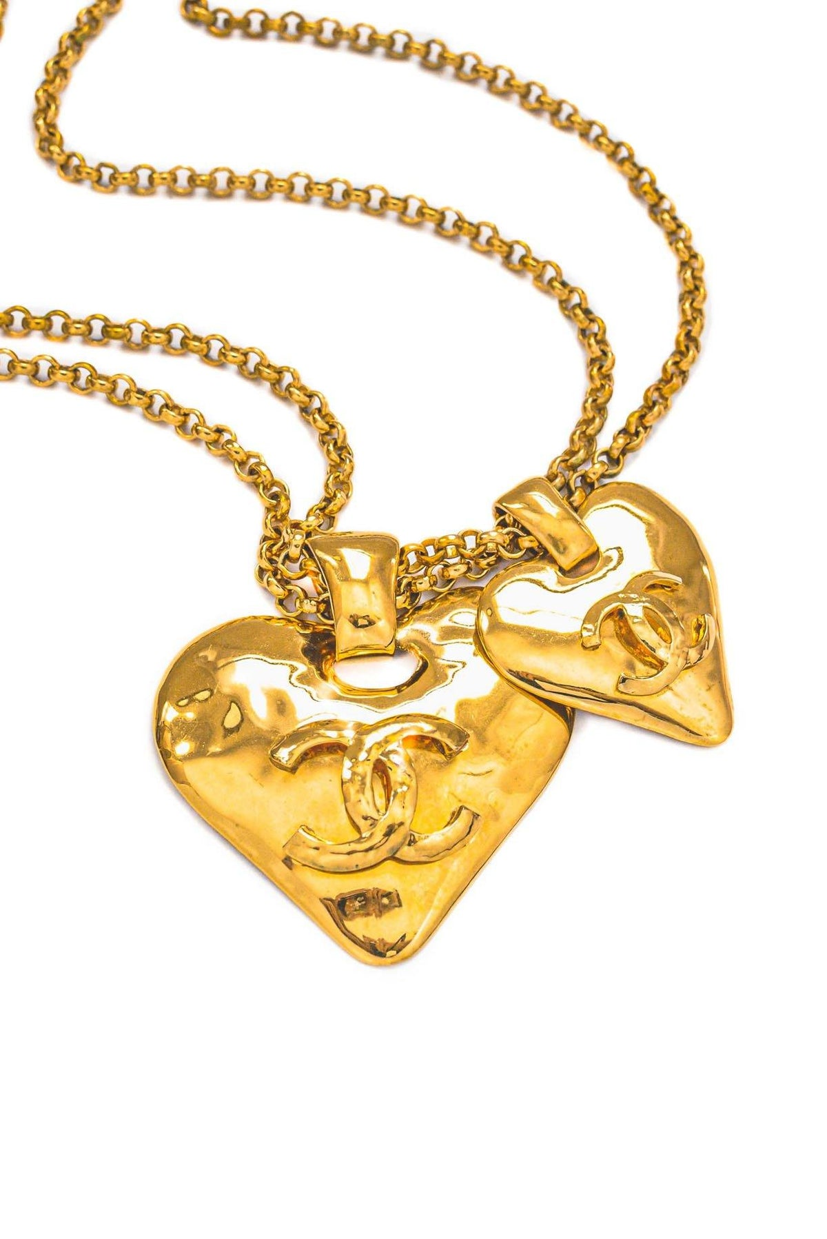 Vintage Chanel CC Double Heart Statement Necklace from Sweet and Spark