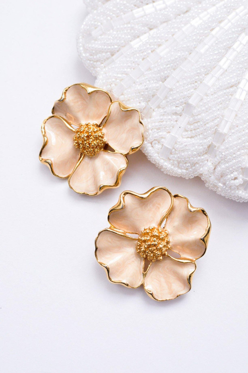 Enamel Floral Clip-on Earrings
