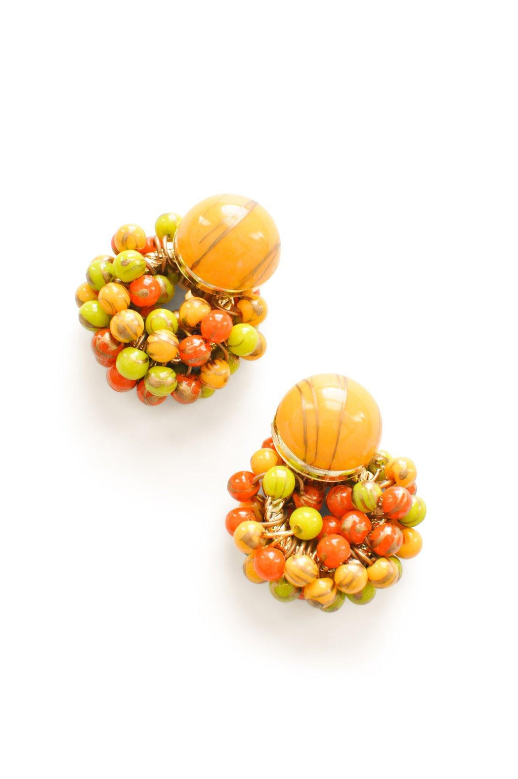Colored Beaded Clip-on Earrings