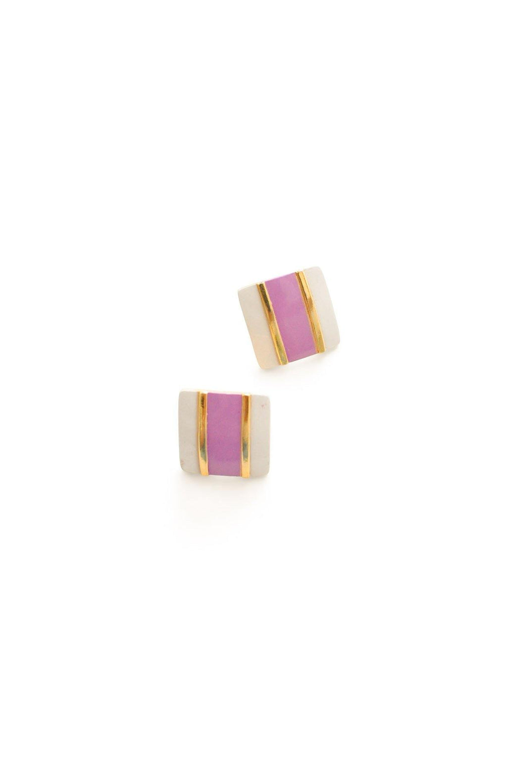 Enamel Square Pierced Earrings
