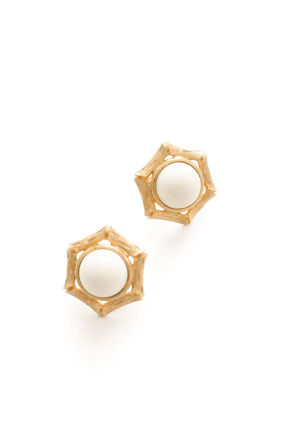 Bamboo White Enamel Clip-On Earrings