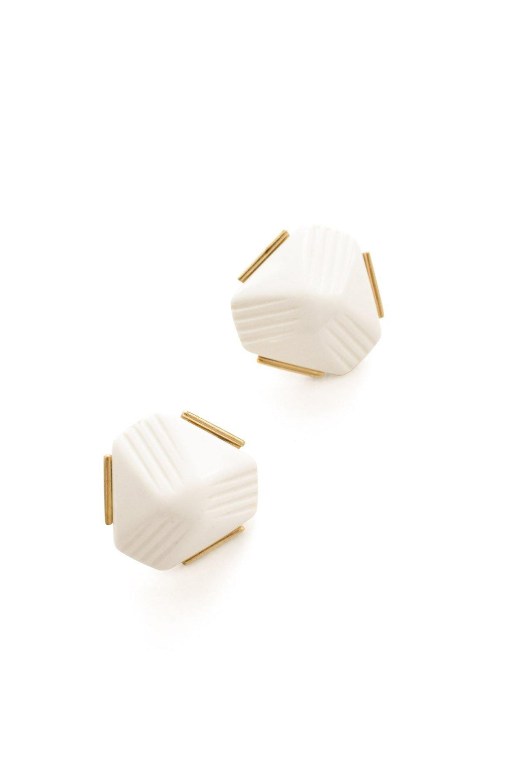 White Triangle Pierced Earrings