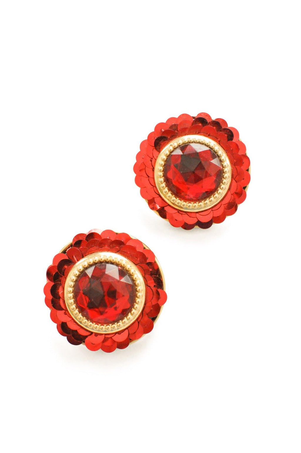 Red Circle Clip-on Earrings