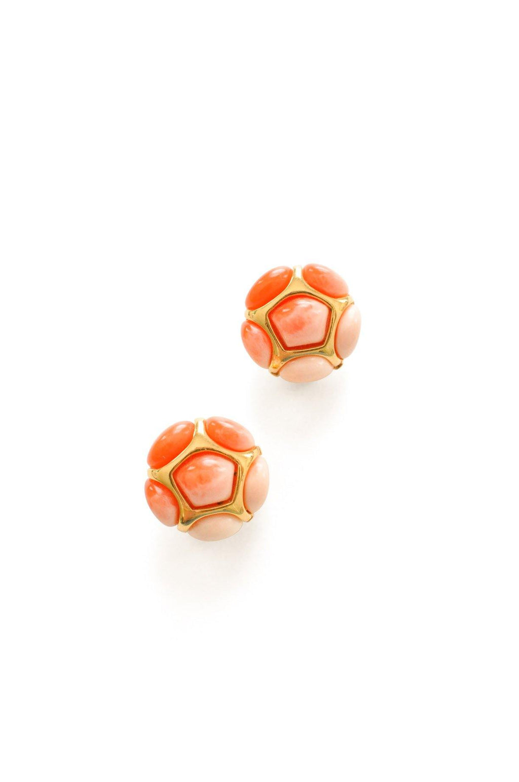 Orange Honeycomb Clip-On Earrings
