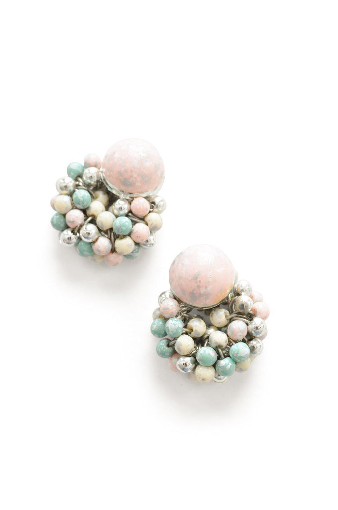 Pastel Beaded Clip-on Earrings