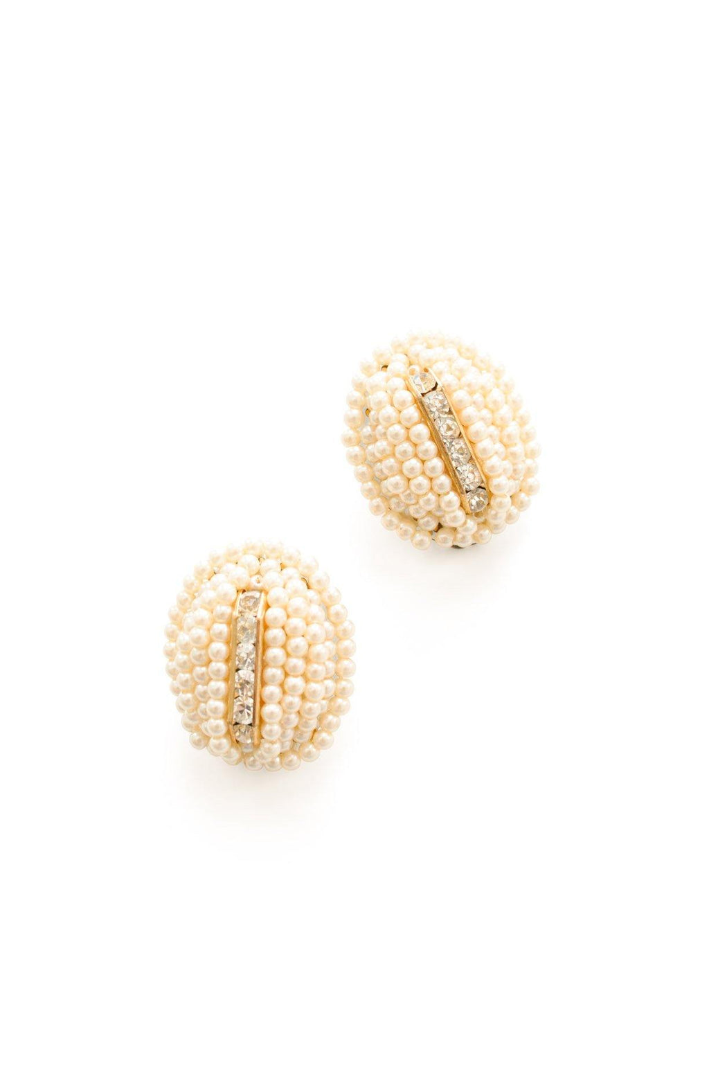 Pearl Rhinestone Clip-on Earrings