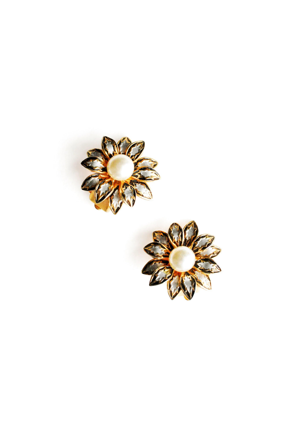 Damascene Floral Clip-on Earrings