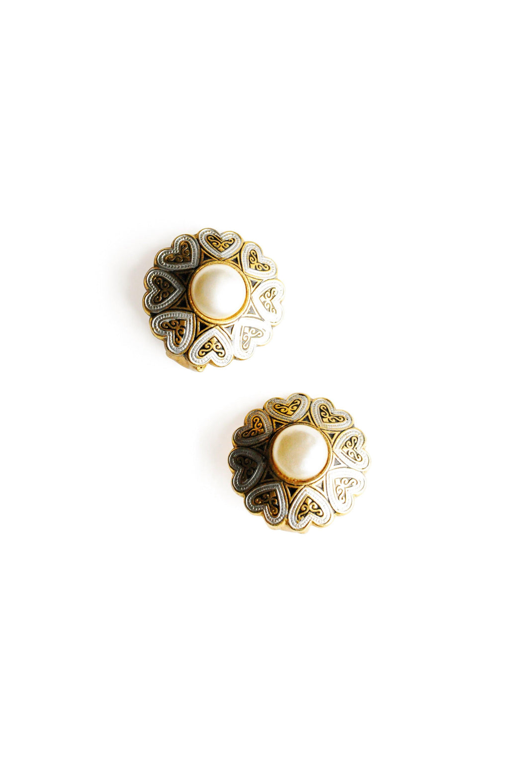 Damascene Pearl Clip-on Earrings
