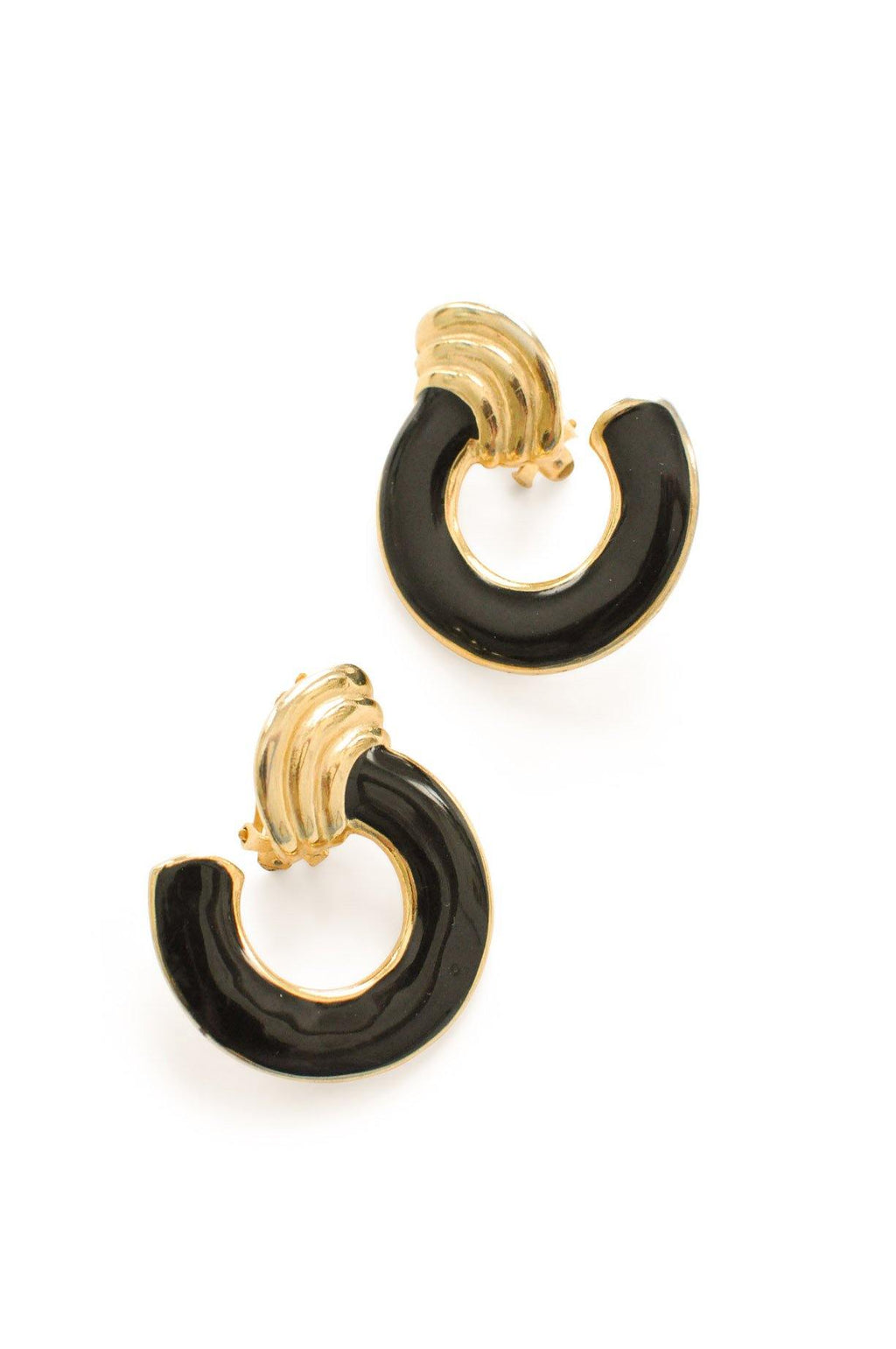 Black Hoop Clip-on Earrings