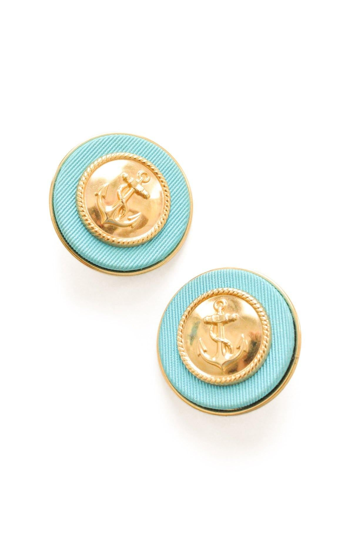 Gold and Blue Anchor Clip-on Earrings