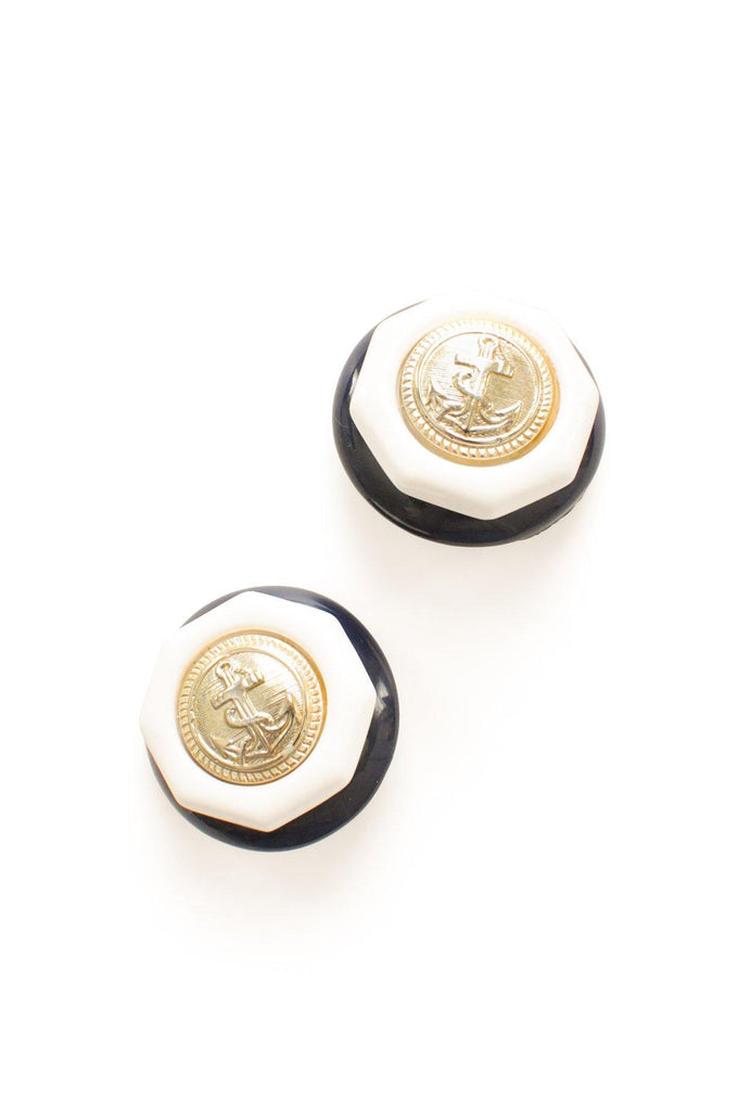 Nautical Button Clip-On Earrings