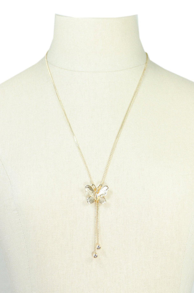 70s__Monet__Gold Butterfly Necklace