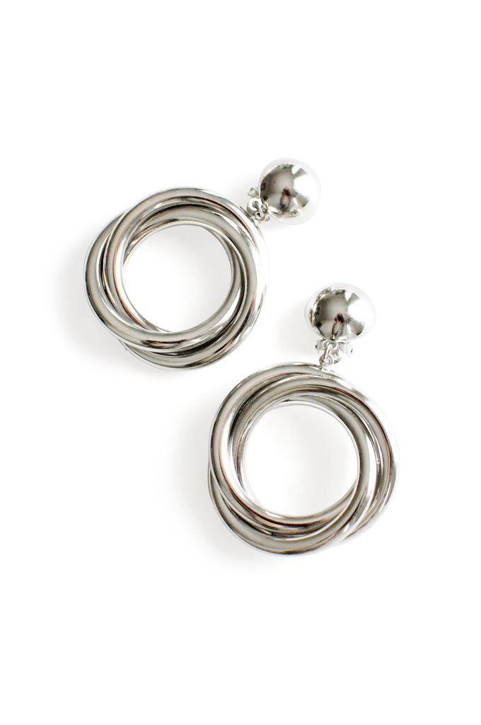 Silver Knot Statement Clip-on Earrings