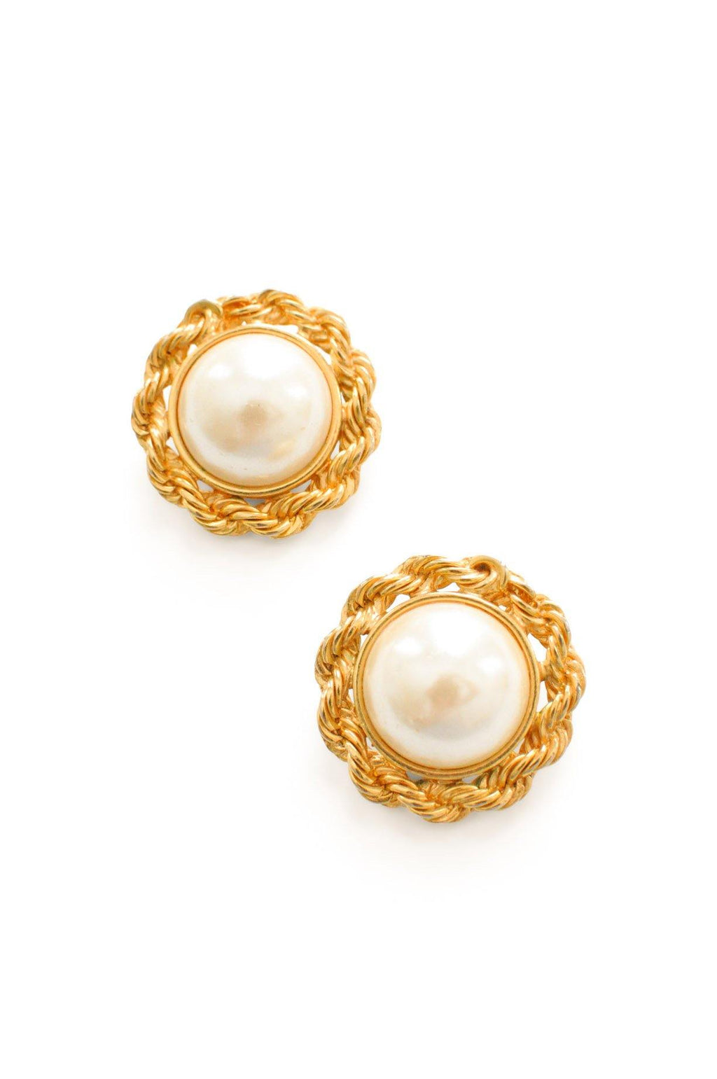 Pearl Chain Clip-on Earrings
