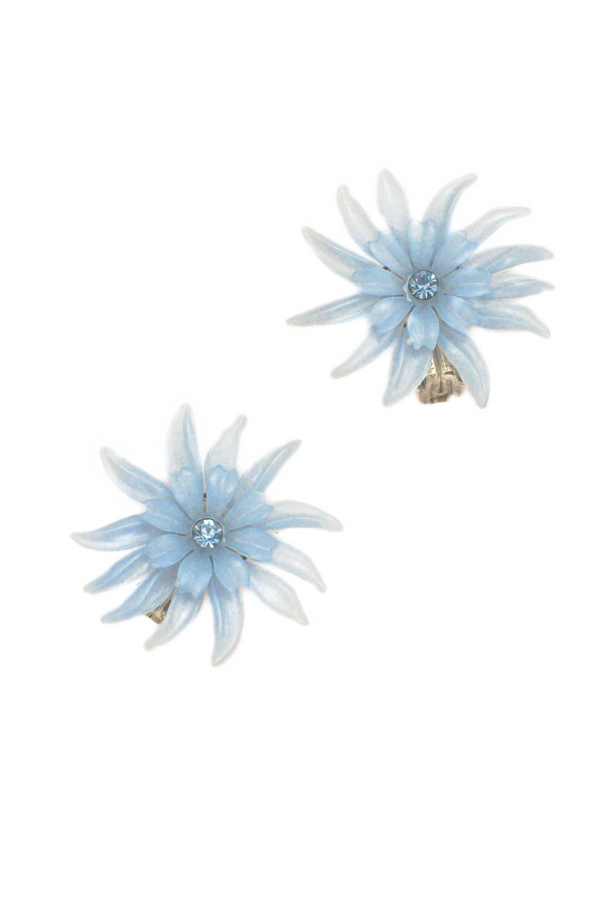 Vintage Blue Floral Clip-on Earrings from Sweet and Spark