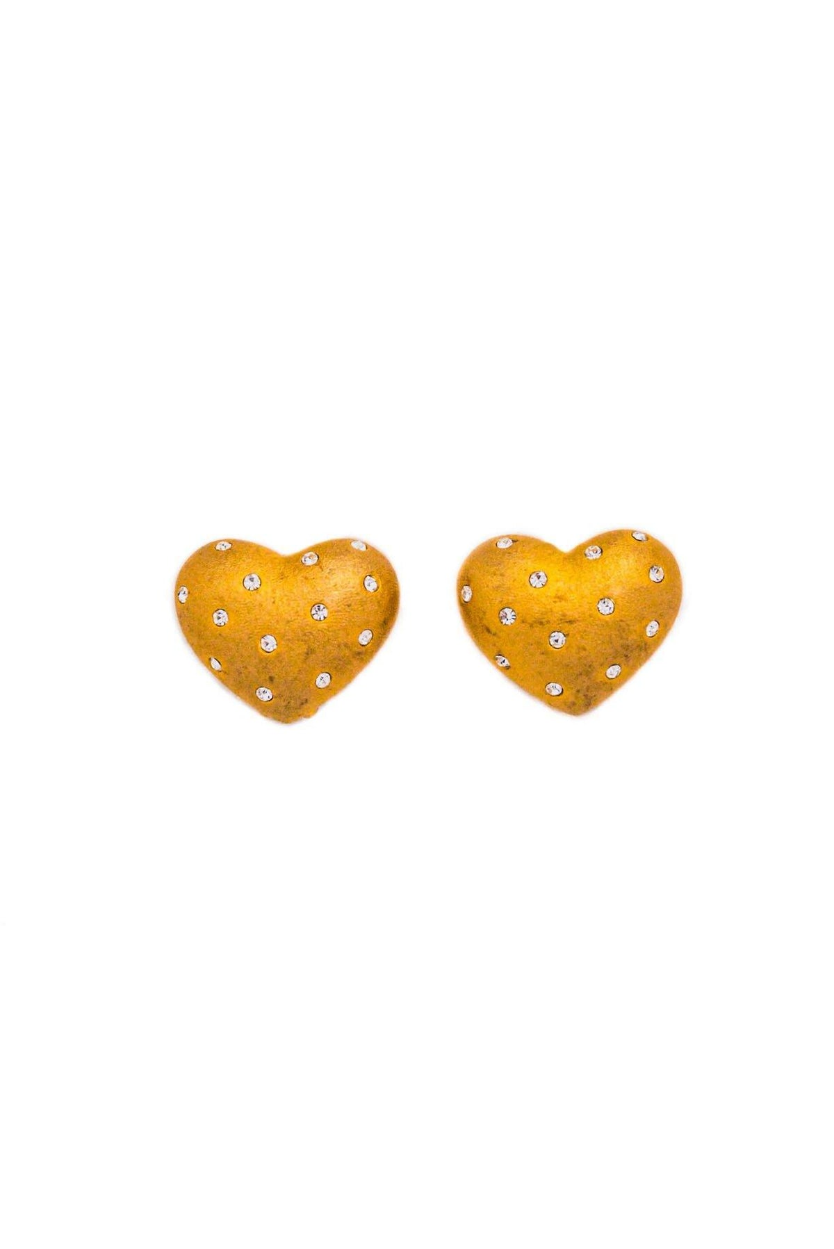 Vintage Swarovski Crystal Encrusted Heart Clip-on Earrings from Sweet and Spark