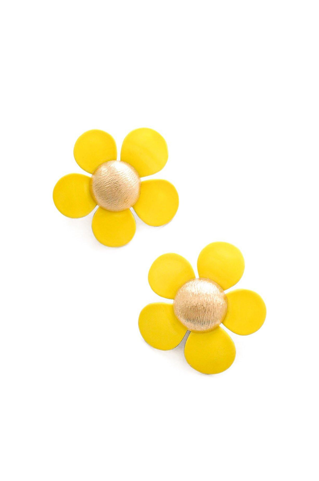 Yellow Floral Clip-on Earrings