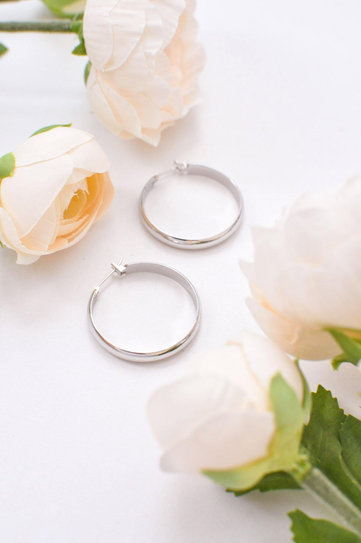 Vintage Classic Silver Pierced Hoop Earrings from Sweet and Spark.