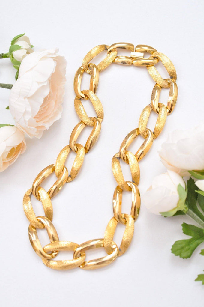 Large Brushed Gold Link Necklace