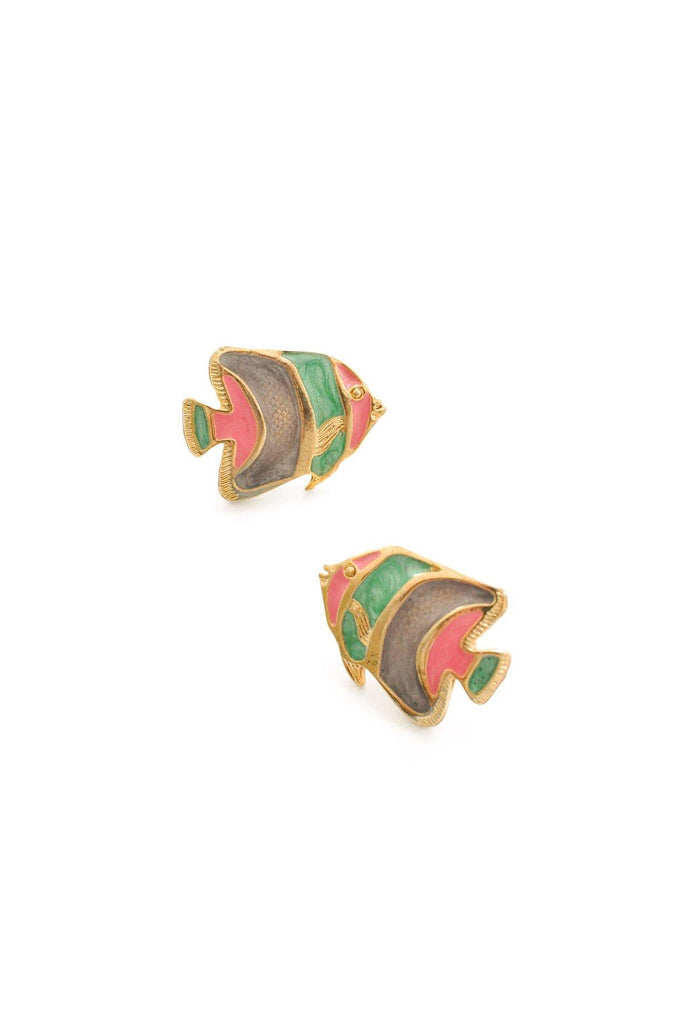Fish Enamel Pierced Earrings