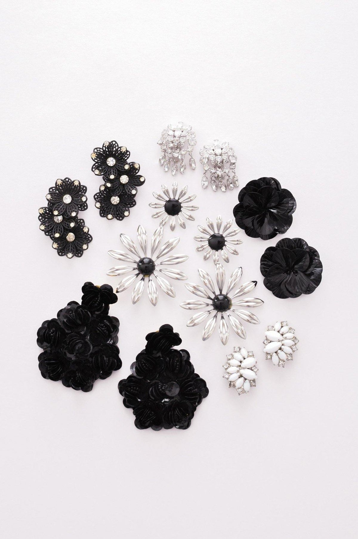 Vintage black & silver floral statement earrings from Sweet & Spark.
