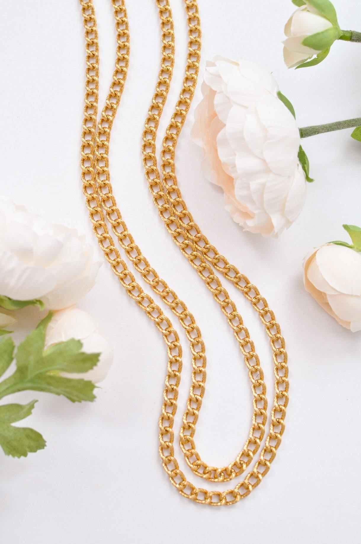 Extra Long Textured Chain Necklace
