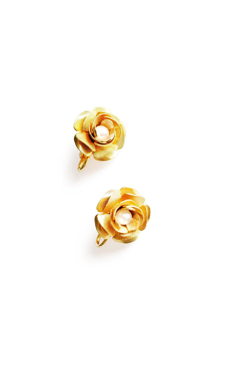 Floral Pearl Clip-On Earrings