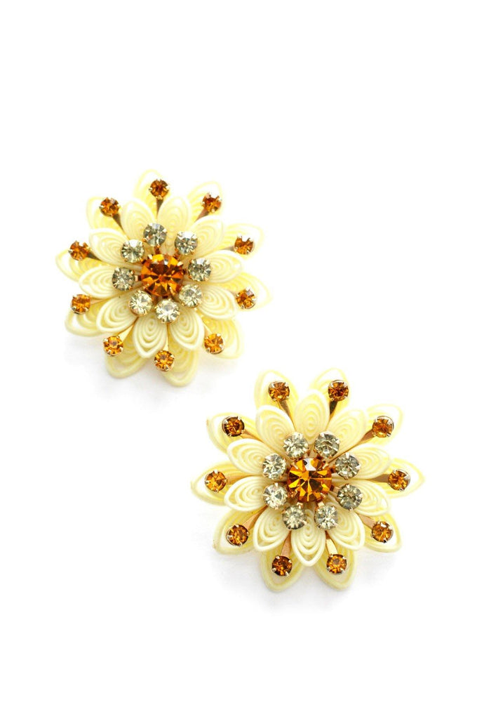 Yellow Rhinestone Clip-on Earrings