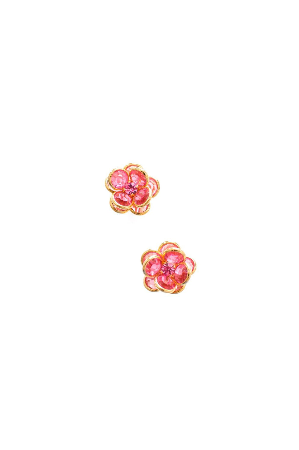 Pink Rhinestone Floral Pierced Earrings