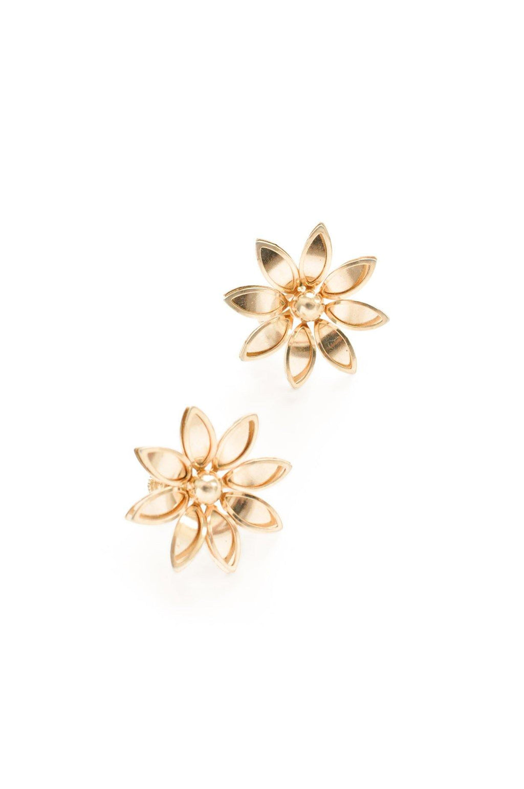 Gold Floral Clip-on Earrings