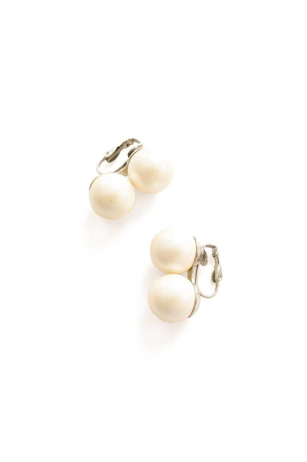 Double Pearl Clip-on Earrings