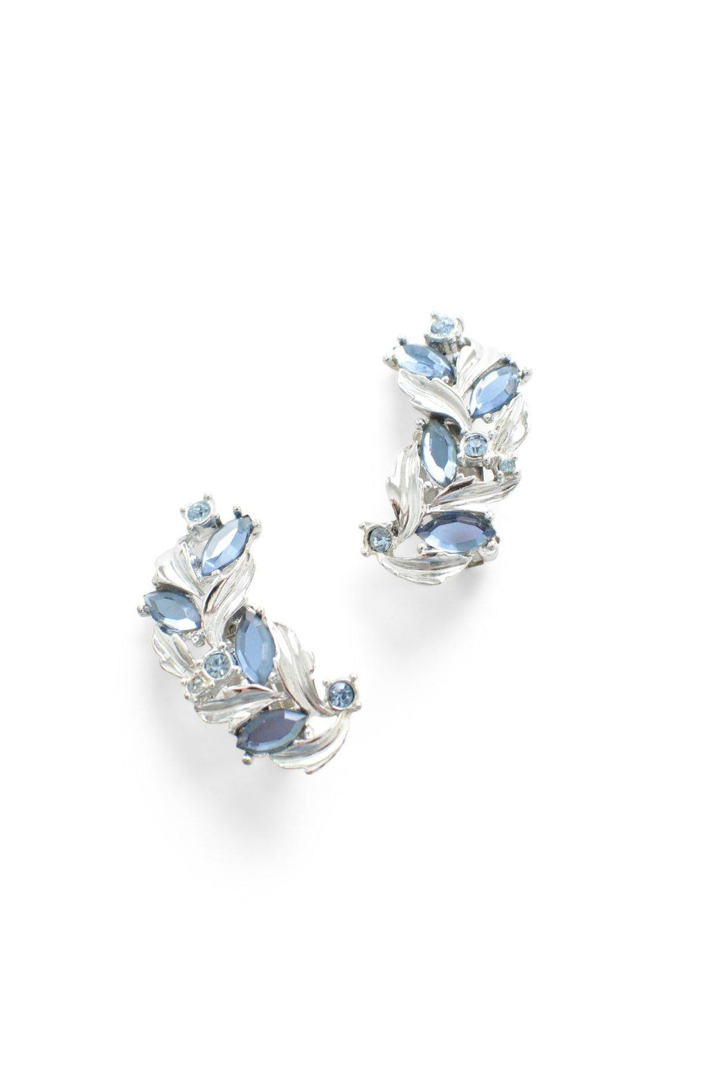 Blue Silver Rhinestone Clip-on Earrings