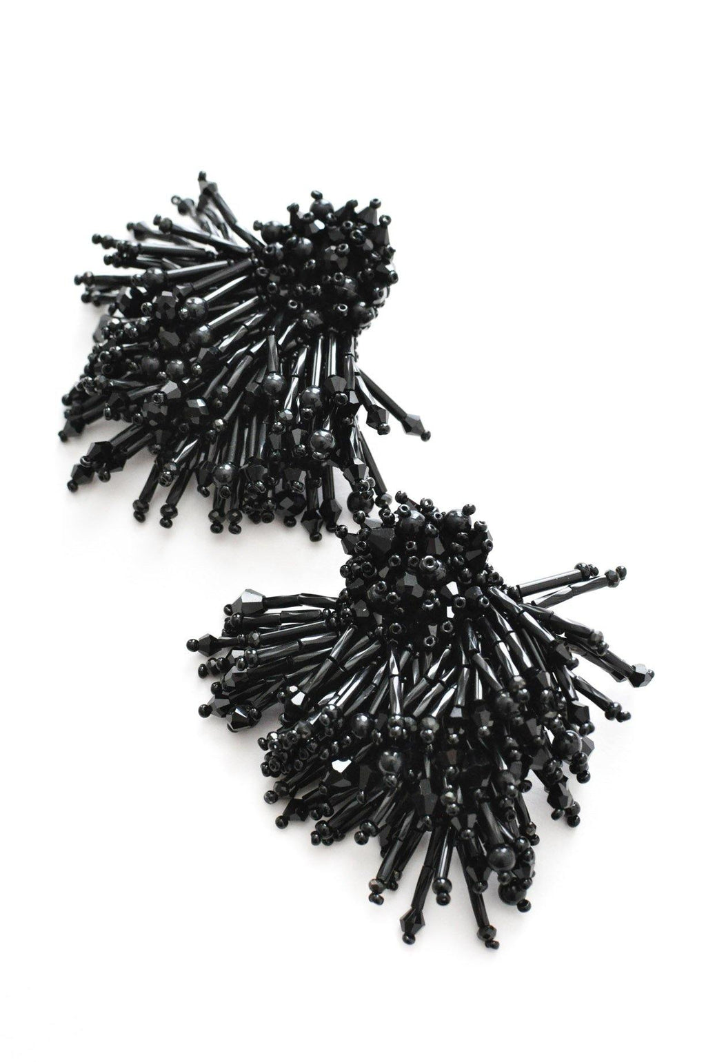 Black Beaded Pierced Earrings