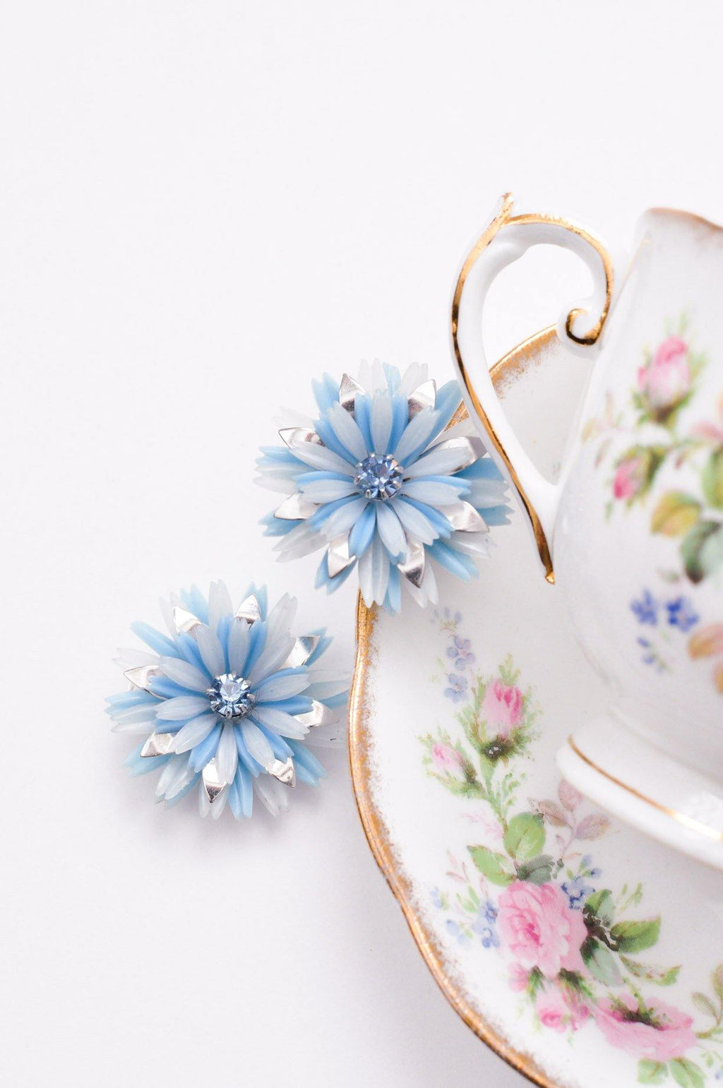 Blue Rhinestone Flower Clip-On Earrings