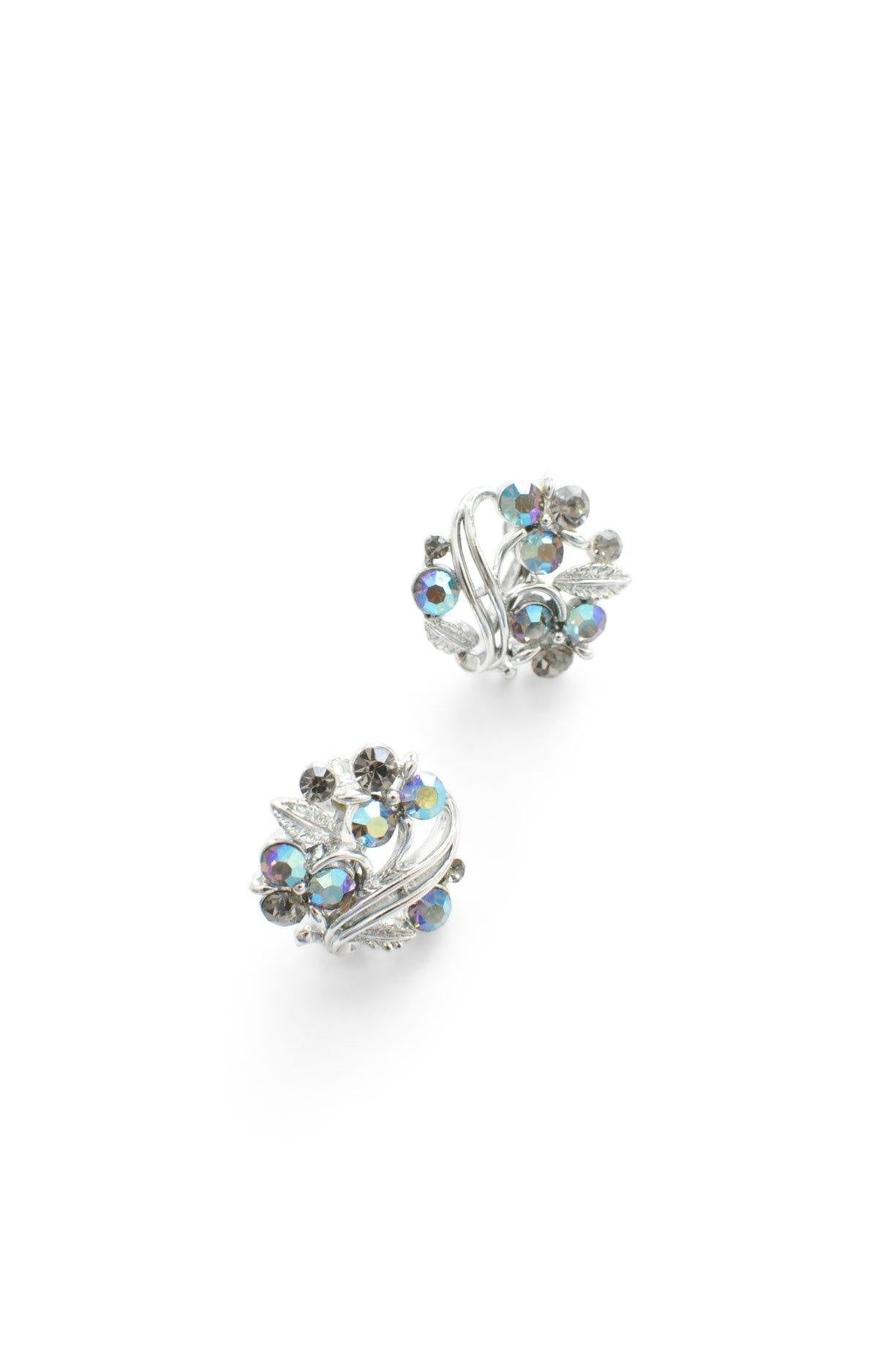 Rhinestone Cluster Clip-on Earrings