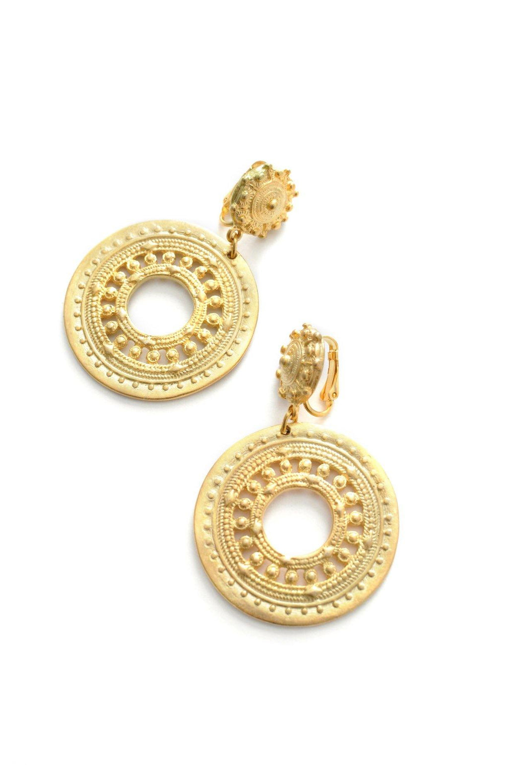 Bold Hoop Drop Clip-on Earrings