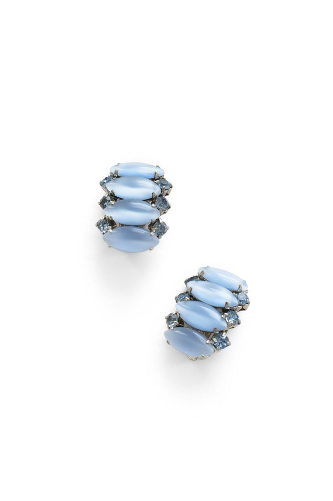 Blue Rhinestone Crawler Clip-On Earrings