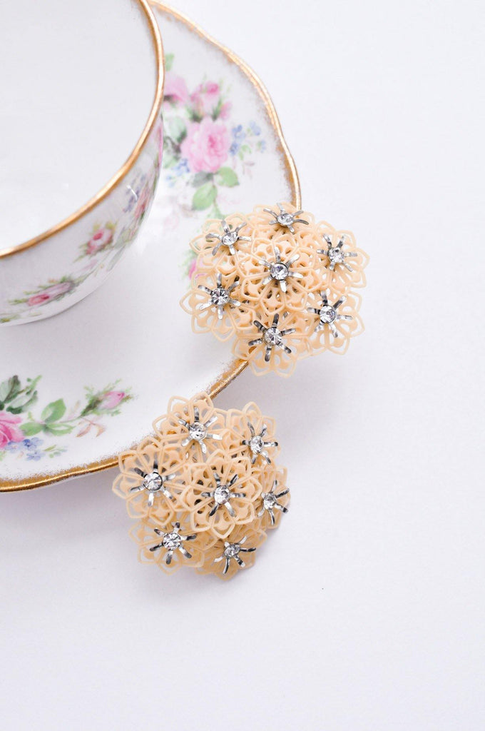 Nude Floral Cluster Clip-on Earrings