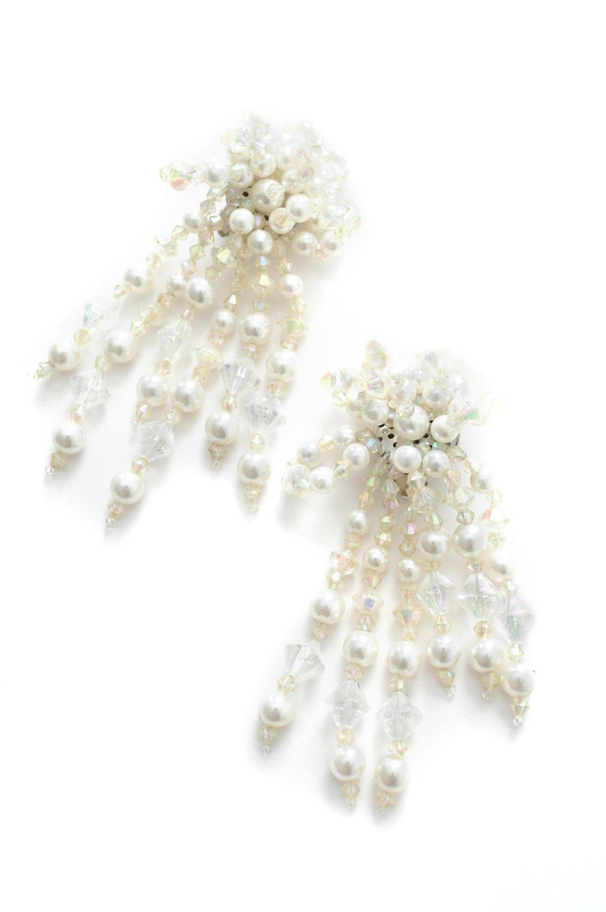 Crystal Pearl Confetti Clip-on Earrings