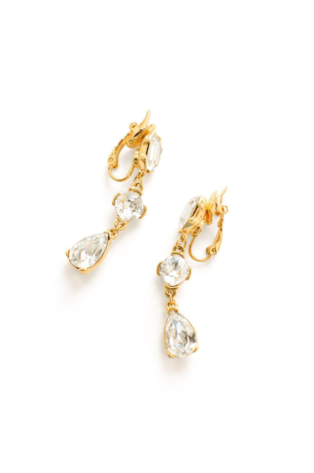 Rhinestone Strand Clip-on Earrings