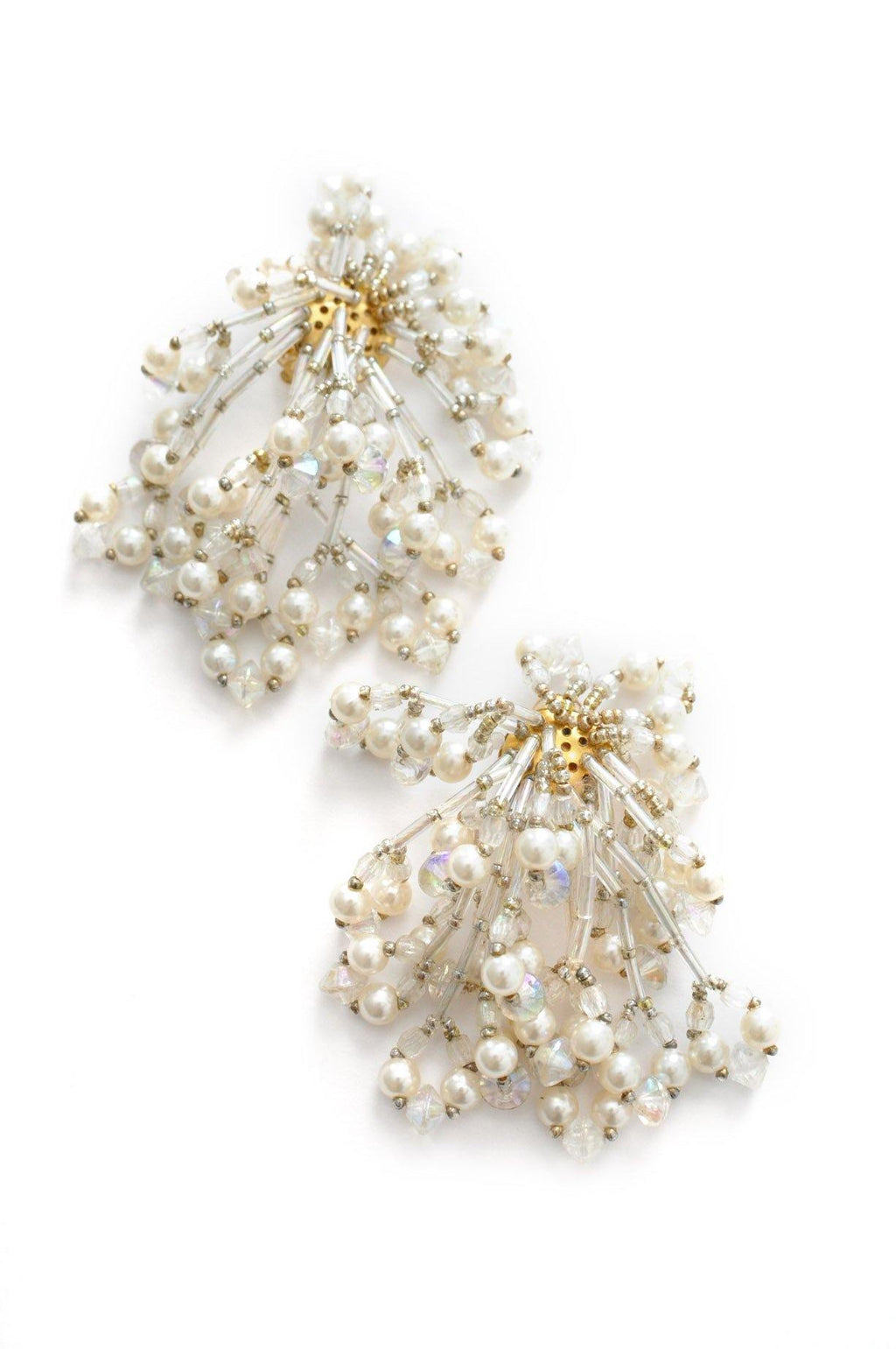 Beaded Statement Clip-on Earrings