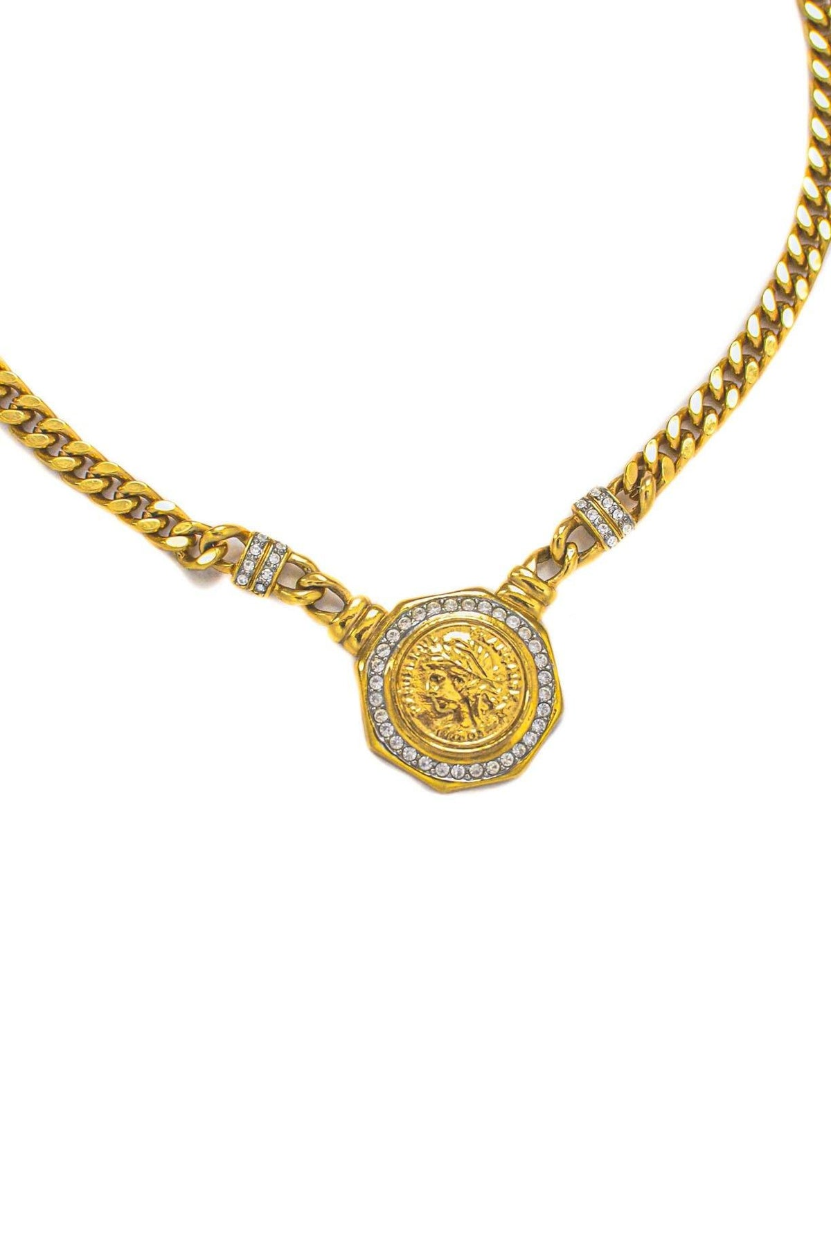 Vintage Rhinestone Coin Pendant Necklace from Sweet and Spark