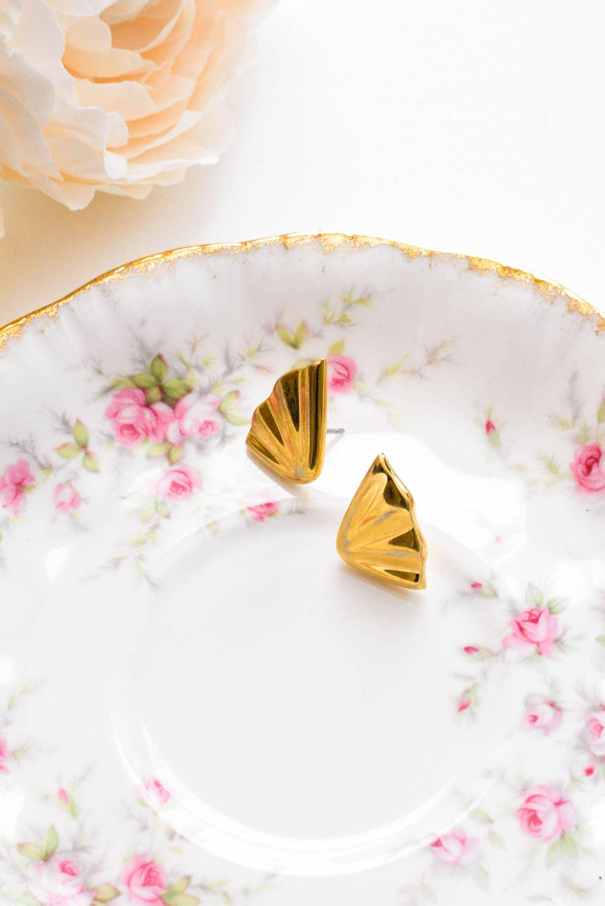 Gold Wings Pierced Earrings - Sweet & Spark