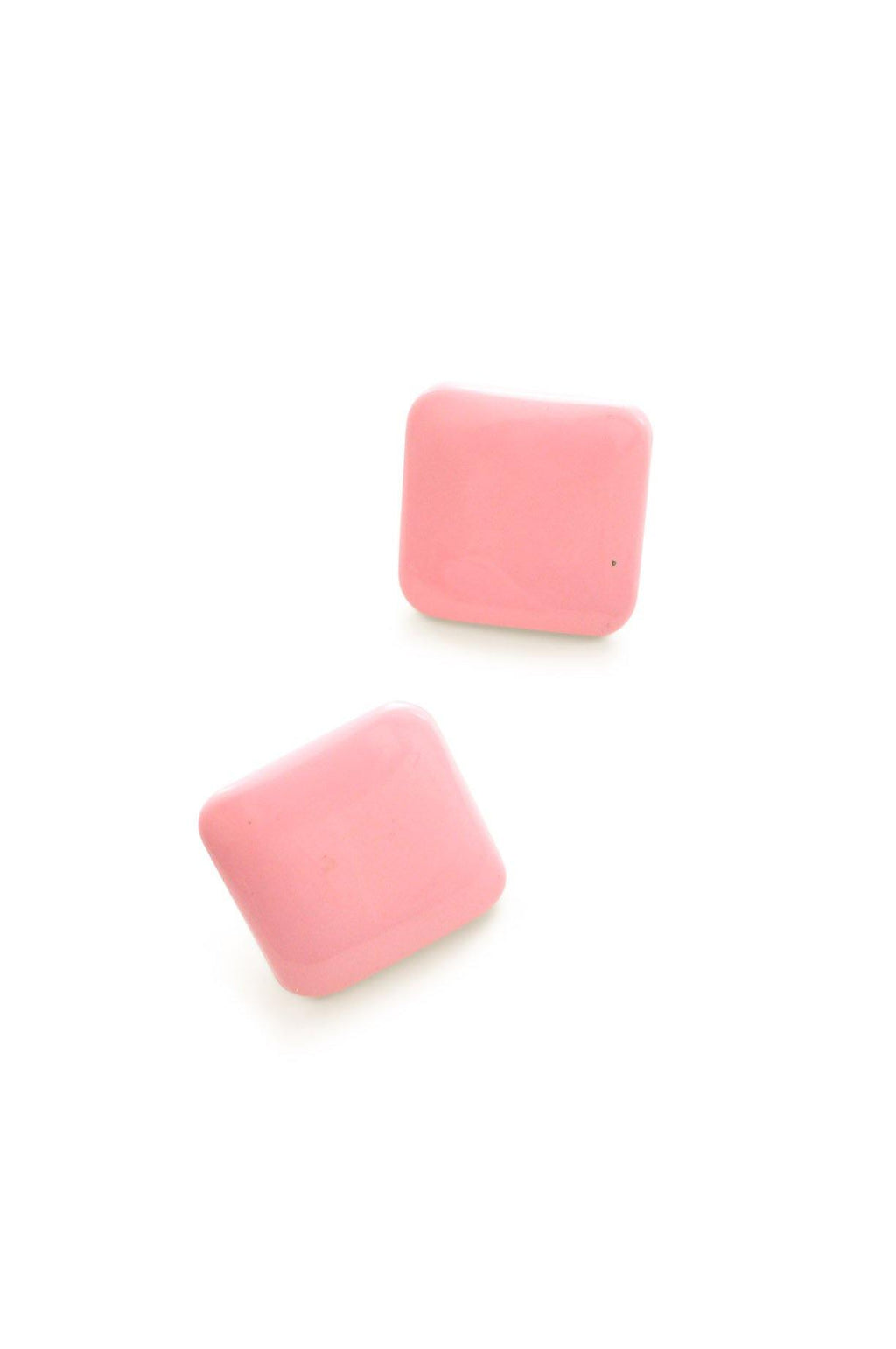 Pink Squares Clip-on Earrings