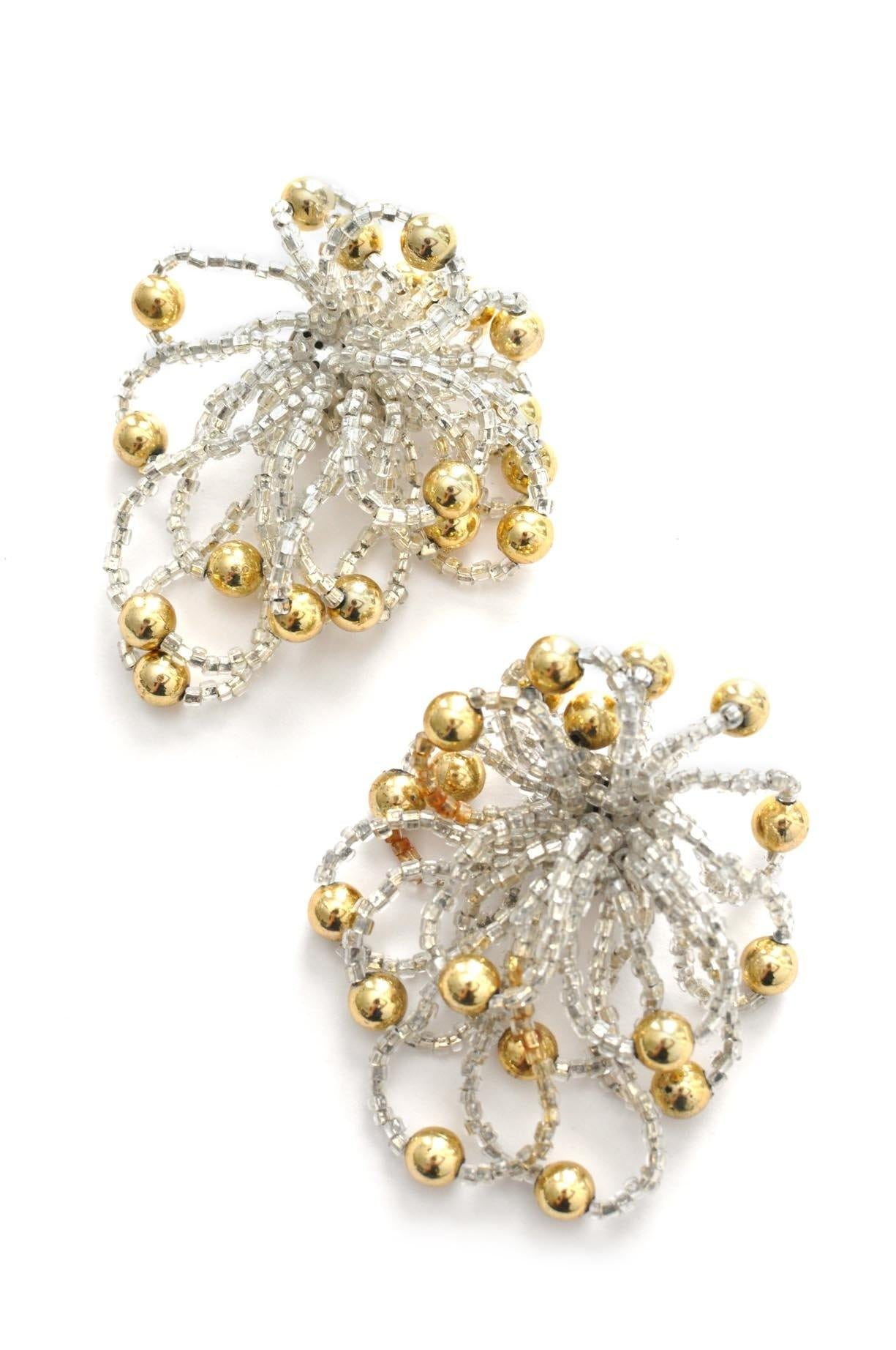 Vintage silver and gold beaded statement earrings from Sweet & Spark.